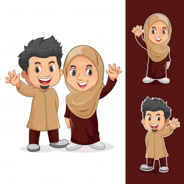 Muslim couple characters Premium Vector  Premium Vector