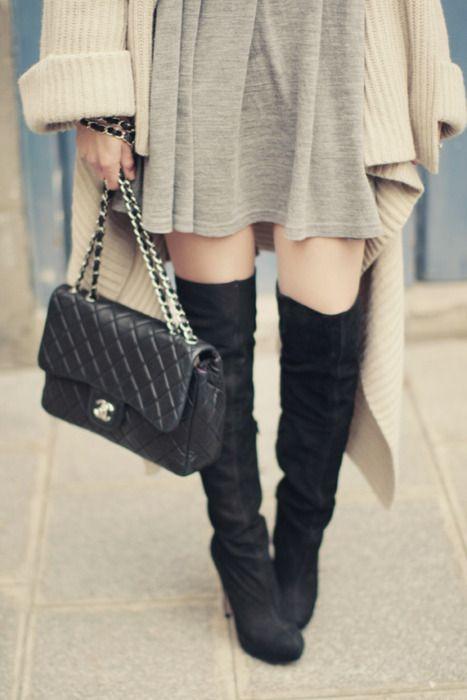 Thigh high boots.