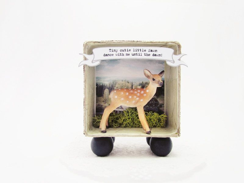 Shadow box frame Tiny Cutie Little Fawn by ILaBoom on Etsy | I want ...