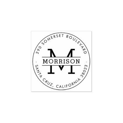 Custom Monogram Family Name Round Return Address Rubber Stamp