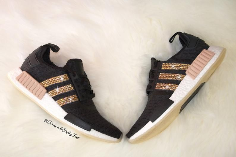 207303180 Swarovski Womens Adidas Originals NMD R1 Core Black Sneakers Blinged ...