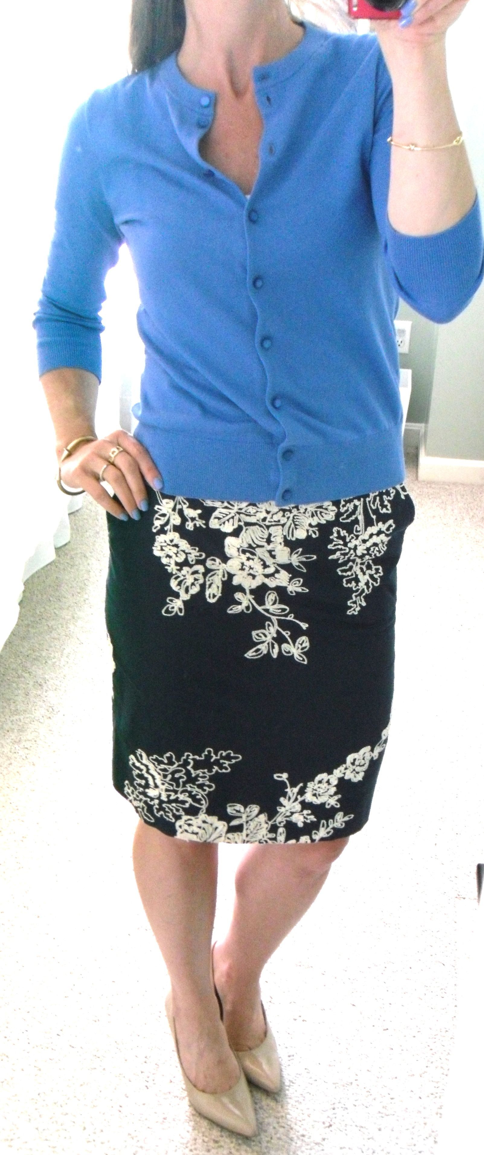 8bc6c71db J. Crew Factory blue cardigan and navy embroidered floral pencil skirt,  nude pumps