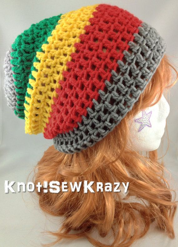 Crochet Slouchy Beanie - Grey Red Yellow and Green Stripe Rasta ...