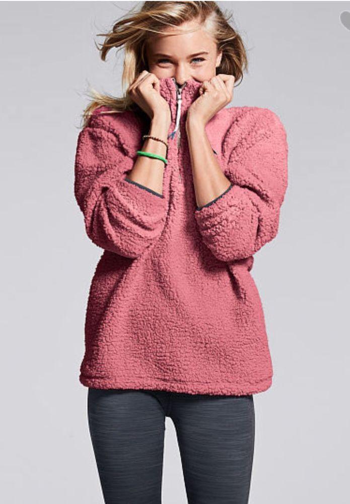 2adb92ac86b68 Victorias Secret Pink Sherpa Boyfriend Quarter Zip Pullover Soft ...