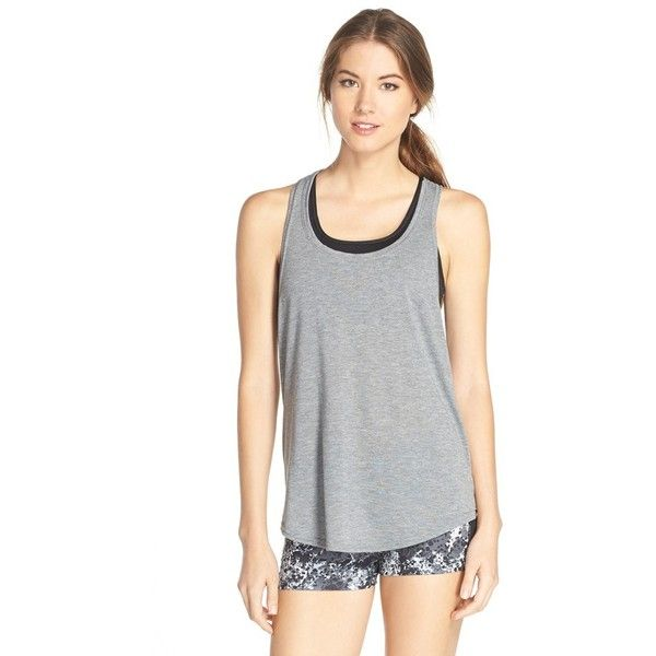 Hurley Dri-FIT Racerback Tank ($30) ❤ liked on Polyvore featuring activewear, activewear tops, carbon heather, hurley sportswear and hurley