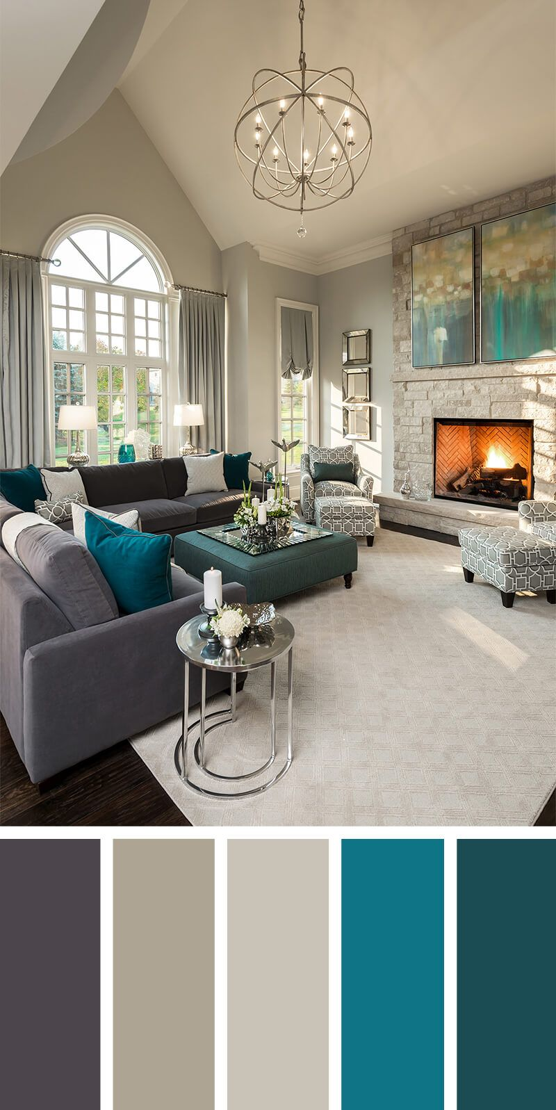 7 Living Room Color Schemes that will Make Your Space Look     Sofa caf       sillones real  pared gris claro  acentos blancos plateados