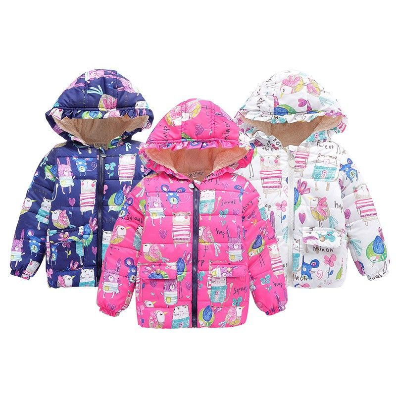 Toddler Boys Girls Hooded Floral Winter Warm Jackets Coats Casual Hoodie Outwear