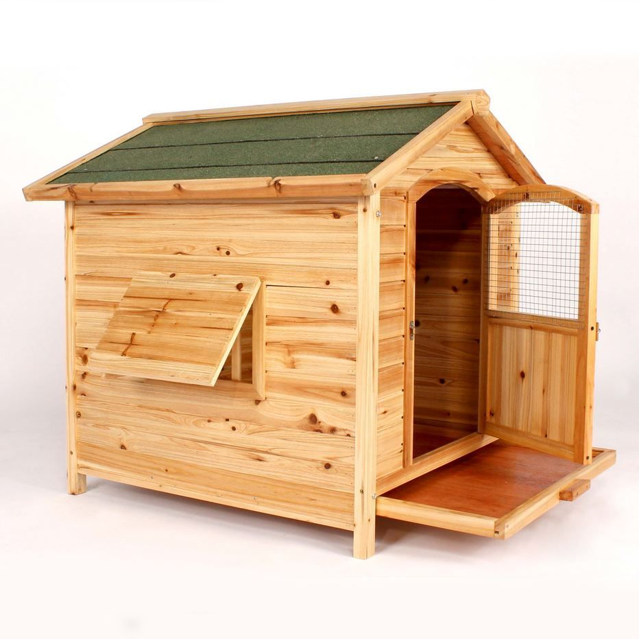 Details About Wooden Cedar Dog House Large Kennel Hinged Roof