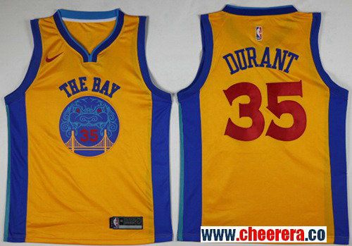Nike Golden State Warriors #35 Kevin Durant Gold NBA Swingman City Edition  Jersey