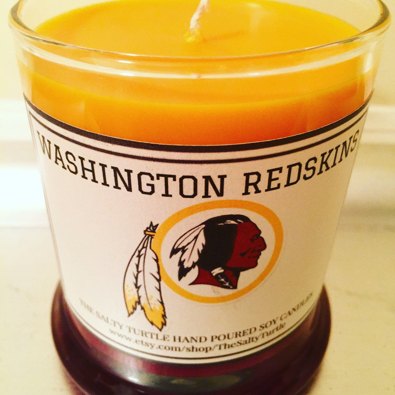 A personal favorite from my Etsy shop https://www.etsy.com/listing/249690425/washington-redskins-nfl-football-custom