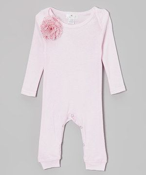 Decorated with a sweet flower, this playsuit takes the guessing out of who the little love is! A cotton construction paired with a lap neck and bottom snaps ensure ultimate cuddly comfort with convenience.