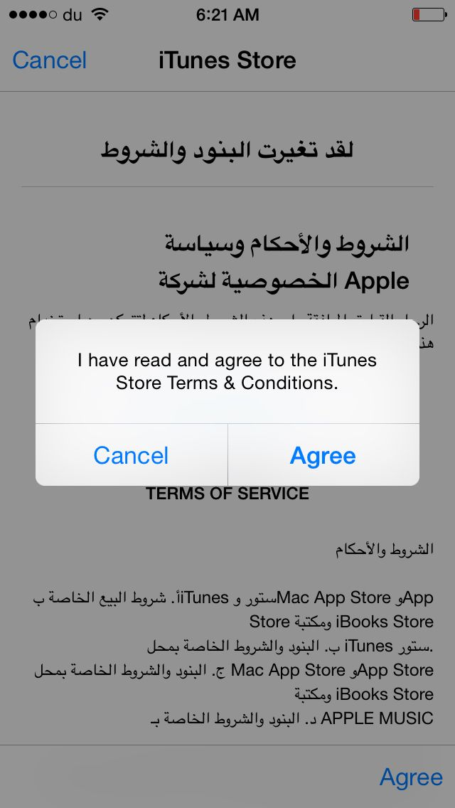 ios appstore term and conditions in arabic