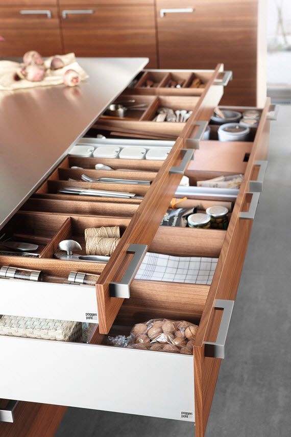 Poggenpohl Cabinetry Accessories - Drawers and Pull-outs with accessory elements #kitchens #organized