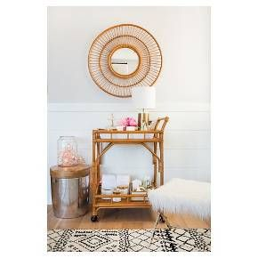 Rattan Bar Cart With Casters Threshold Target Living Room