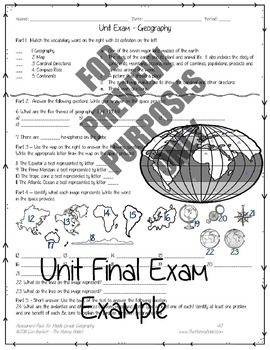 Middle Grade Geography Assessment Pack