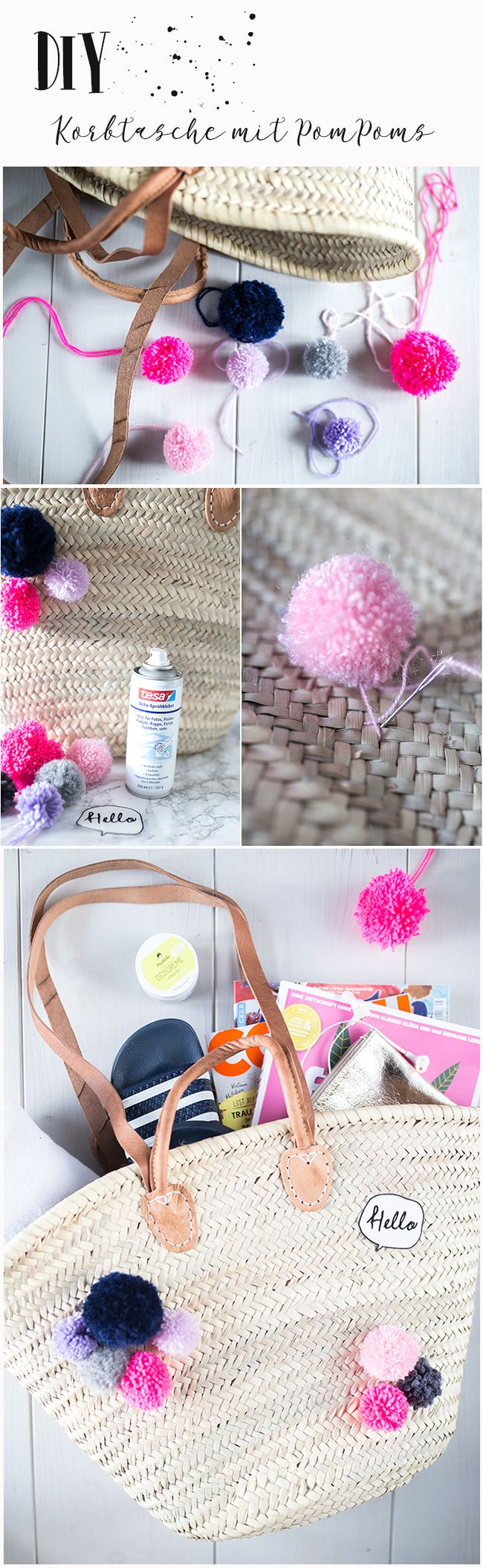 diy korbtasche mit pompoms im ibizastyle f r gute laune mein blog. Black Bedroom Furniture Sets. Home Design Ideas