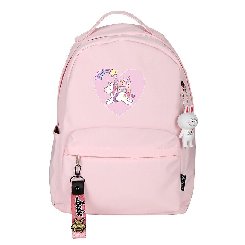 Leather Magic Unicorn And Rainbow Backpack Daypack Bag Women