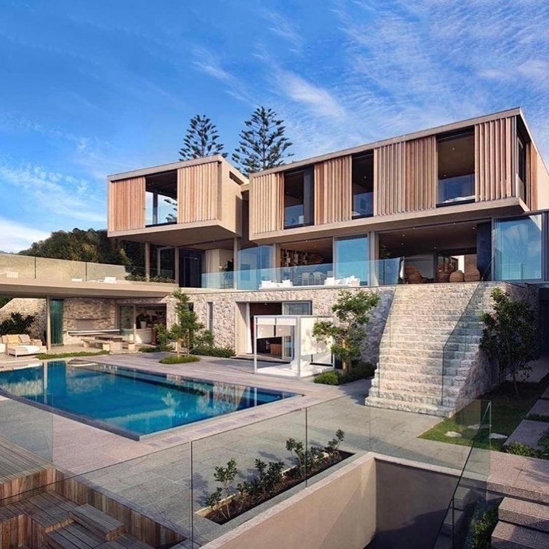 Flat house of glas and wood with pool Minecraft Pinterest