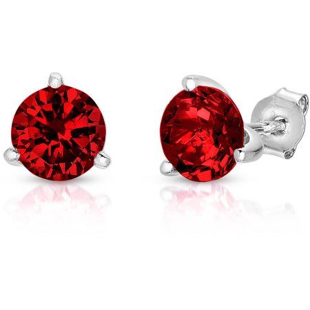 Created Ruby Sterling Silver Martini Stud Earrings, Women's