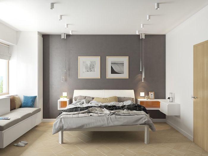 ▷ 1001 + atemberaubende Ideen für Wandfarbe Grau Wandgestaltung - schlafzimmer einrichtung nachttischlampe