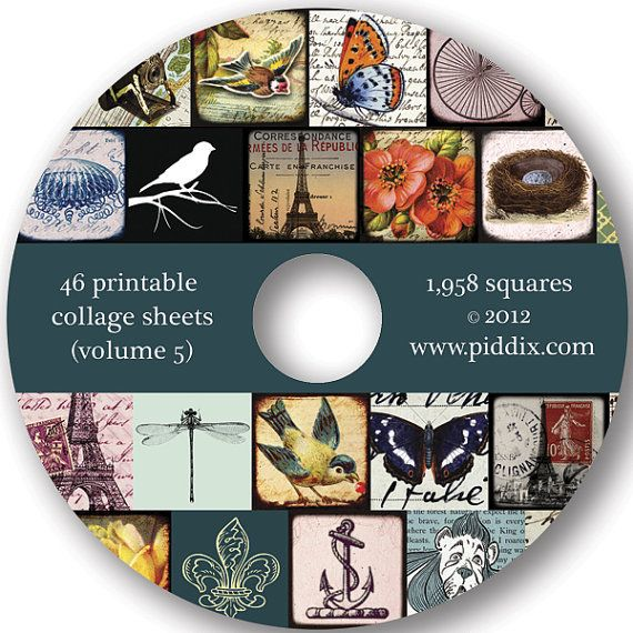 CD with nearly 2000 printable square designs on 46 different collage sheets. Here are some free tutorials for what you can use them for (glass pendants, scrabble tiles, clay transfers, etc): http://www.piddix.com/tutorials.html  By piddix.