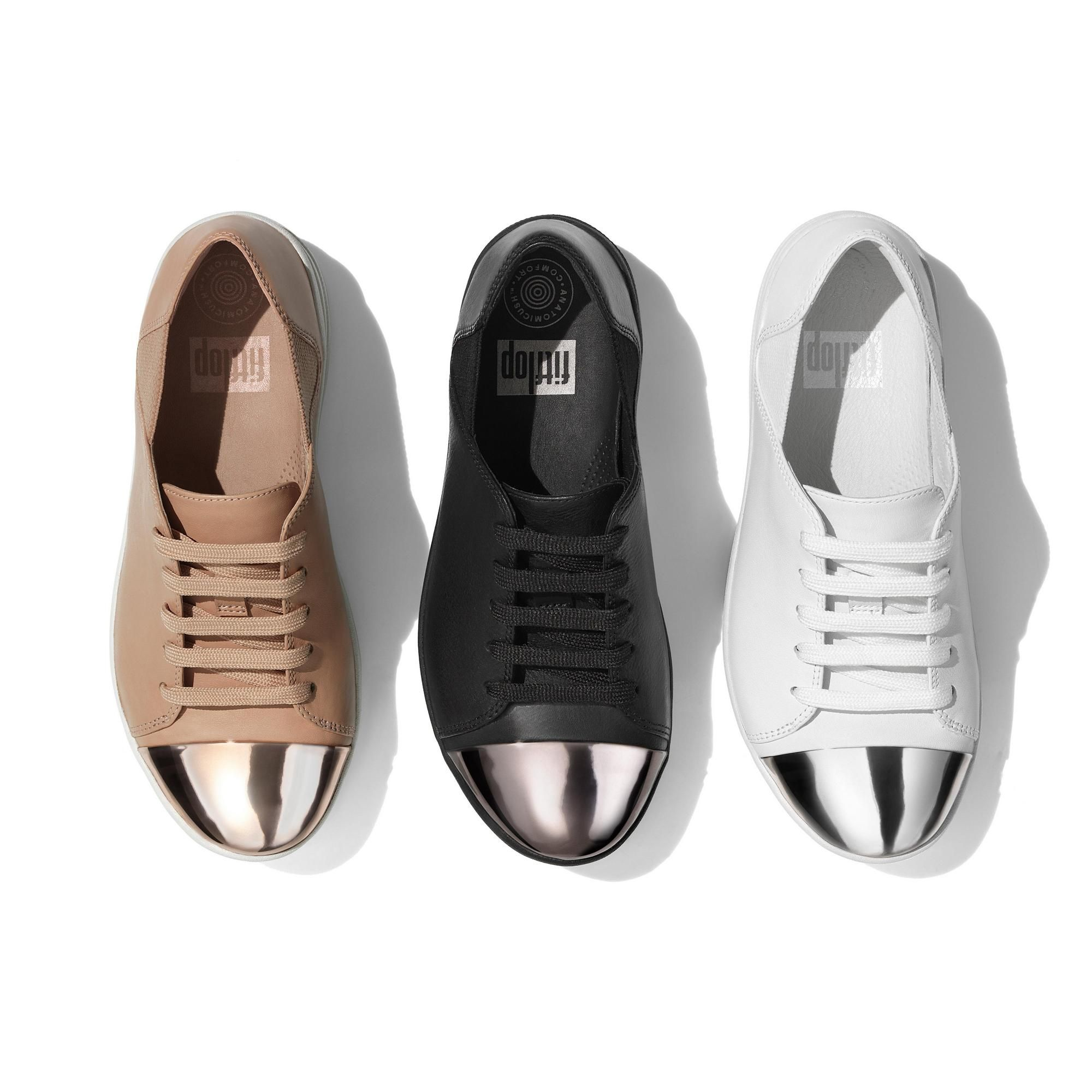 edbe8682354c0 F-SPORTY MIRROR-TOE LEATHER LACE-UP SNEAKERS Urban White FitFlop Official  Online Store