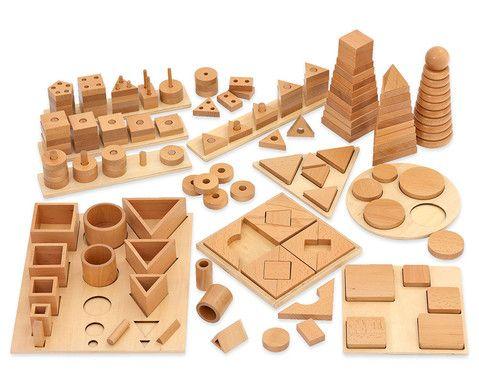montessori material 12 unterschiedliche steckspiele formen gr en h hen und mengen k nnen. Black Bedroom Furniture Sets. Home Design Ideas