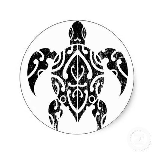 496dc4bbf Tribal Turtle Black Classic Round Sticker | Zazzle.com | Tats ...