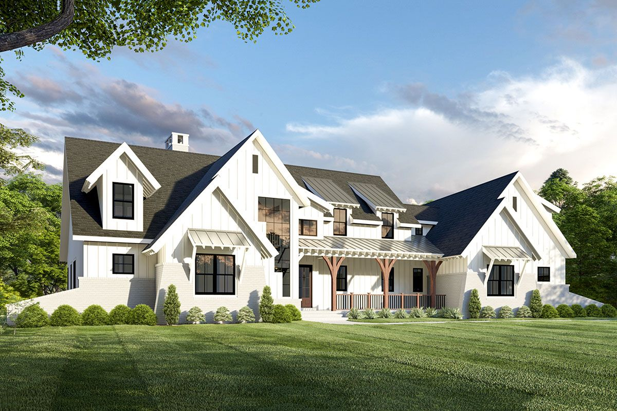 Exclusive 5Bed Modern Farmhouse Plan with Unique Angled