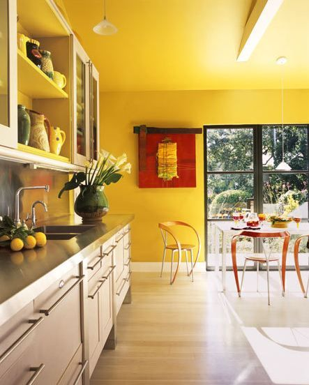 ADDING BOLD FLAVOR WITH COLOR IN THREE MODERN KITCHENS Yellow Kitchen WallsYellow