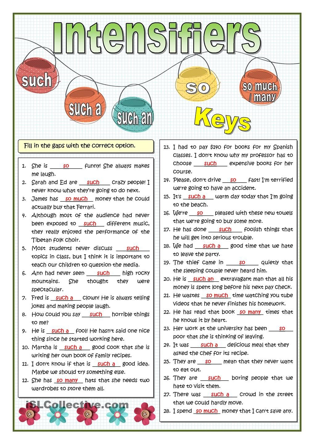 INTENSIFIERS - SO OR SUCH PRACTICE | English Grammar | Teaching