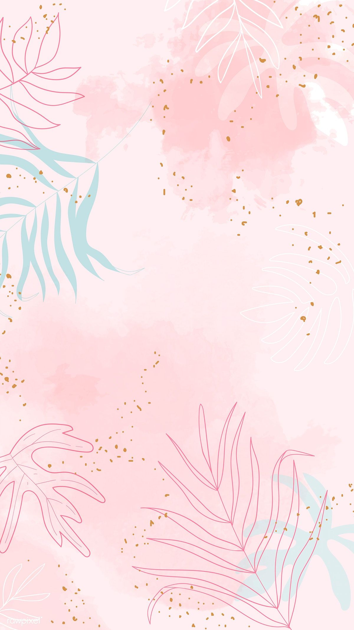 Download Premium Vector Of Pink Leafy Watercolor Background Vector 1222791 Watercolor Background Cute Patterns Wallpaper Backgrounds Tumblr Pastel