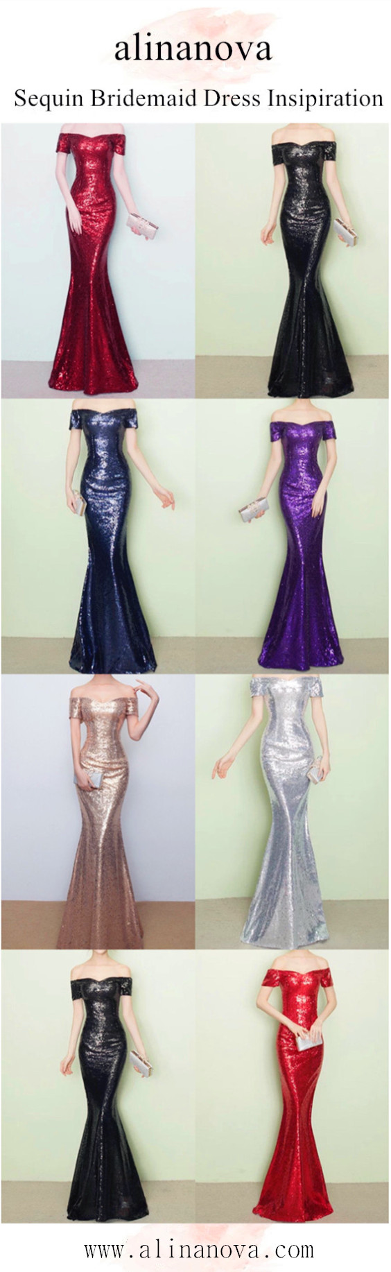Vneck off the shoulder long sequin mermaid bridesmaid dresses