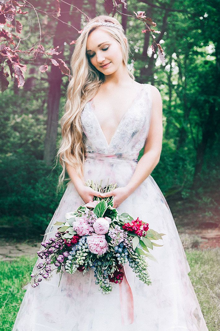 The Watercolour Wedding Dress Heaven In A Wild Flower Editorial