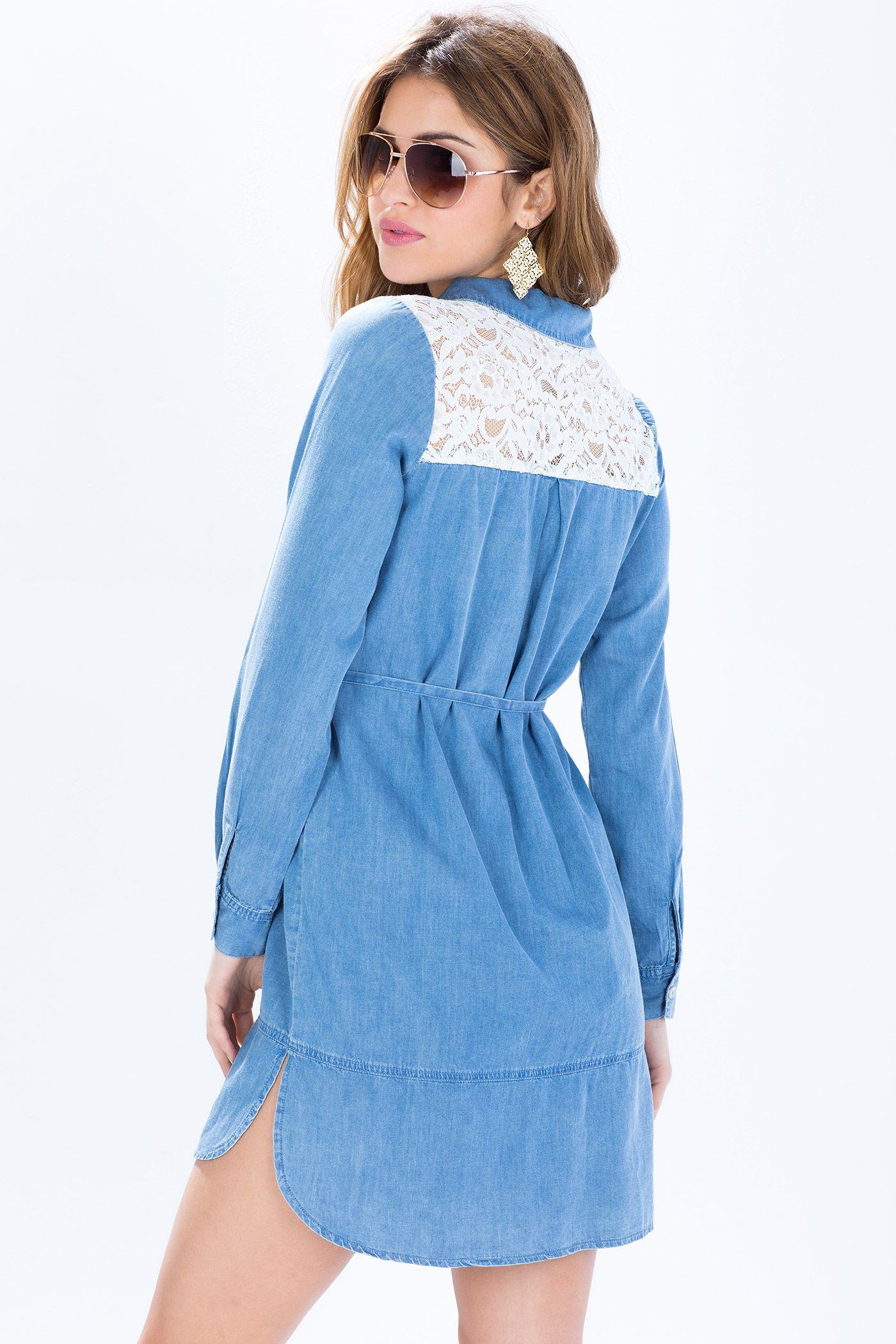 d50b421df31 Джинсовое платье-рубашка з кружевом Размеры  S