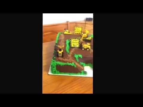Nicely done construction theme birthday cake - YouTube
