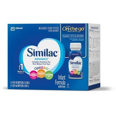 Similac Advance Infant Formula With Iron On The Go 8oz 6ct Complete Nutrition Baby Feeding