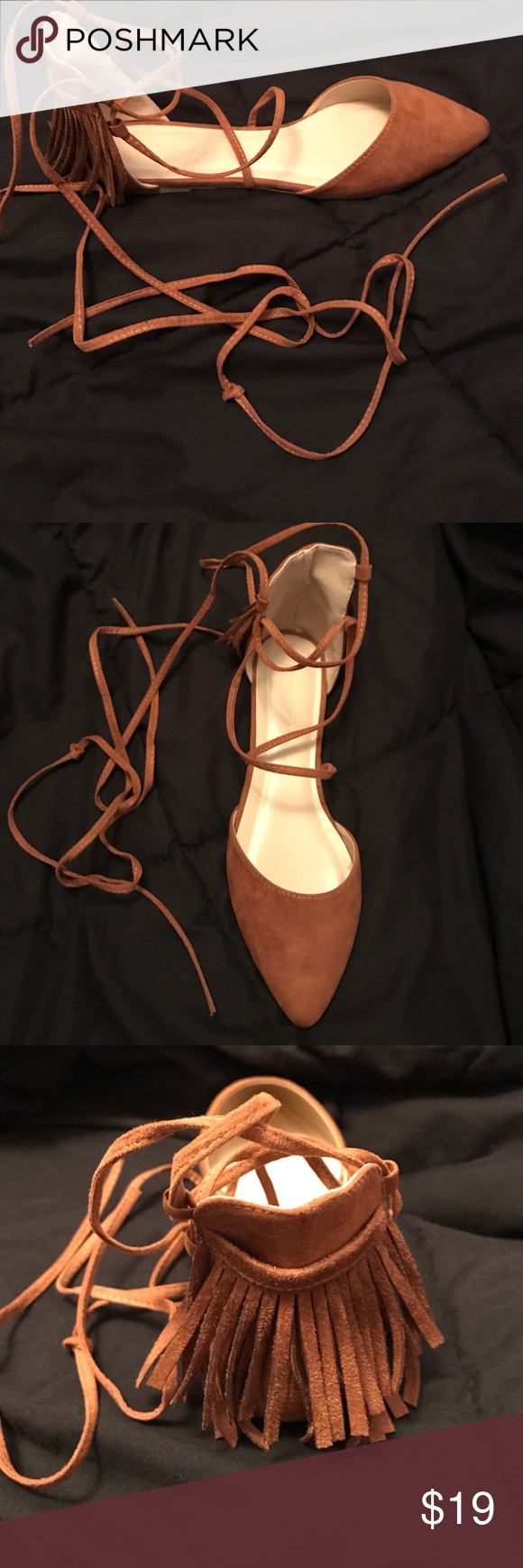 D'Orsay Flats Cognac color, NEW Fringed Pointed Toe D'Orsay Flats, with box. bought from Charlotte Russe website but shoe say a different brand. Straps wrap around the ankle, shoe is true to size Charlotte Russe Shoes Flats & Loafers