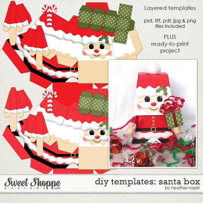 Diy Printable Templates Santa Box By Heather Roselli Christmas Gift Box Template Free Christmas Printables Box Template Printable