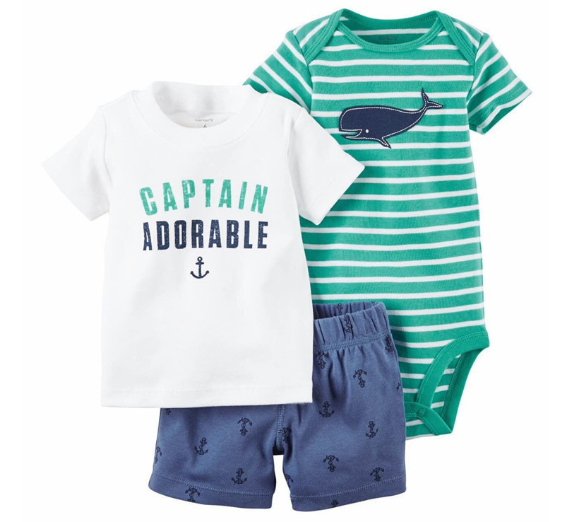 Carters Striped Diaper Cover Set Baby Captain of the Ship 6 Months