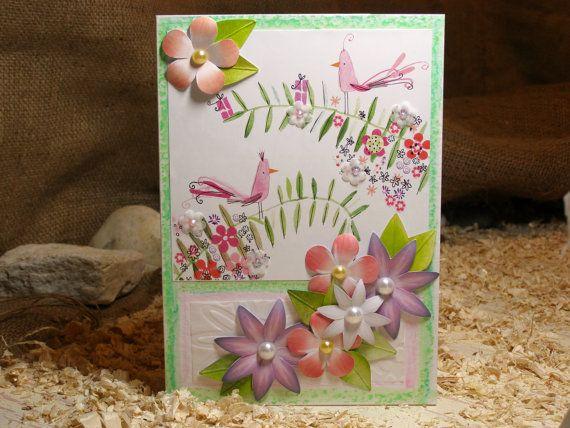 8x6 Fun Bird Flower Greeting Card Pink Peach Green by 4SeasonCards