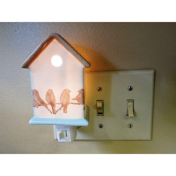 Night Light Plug In Birdhouse Porcelain Ceramic Vintage Bb 22 Via Polyvore Featuring Home