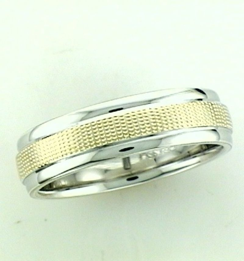 Sterling Silver And 14Kt Yellow Gold Wedding Band With Swiss Cut Finish On 14Kt Yellow Gold $340