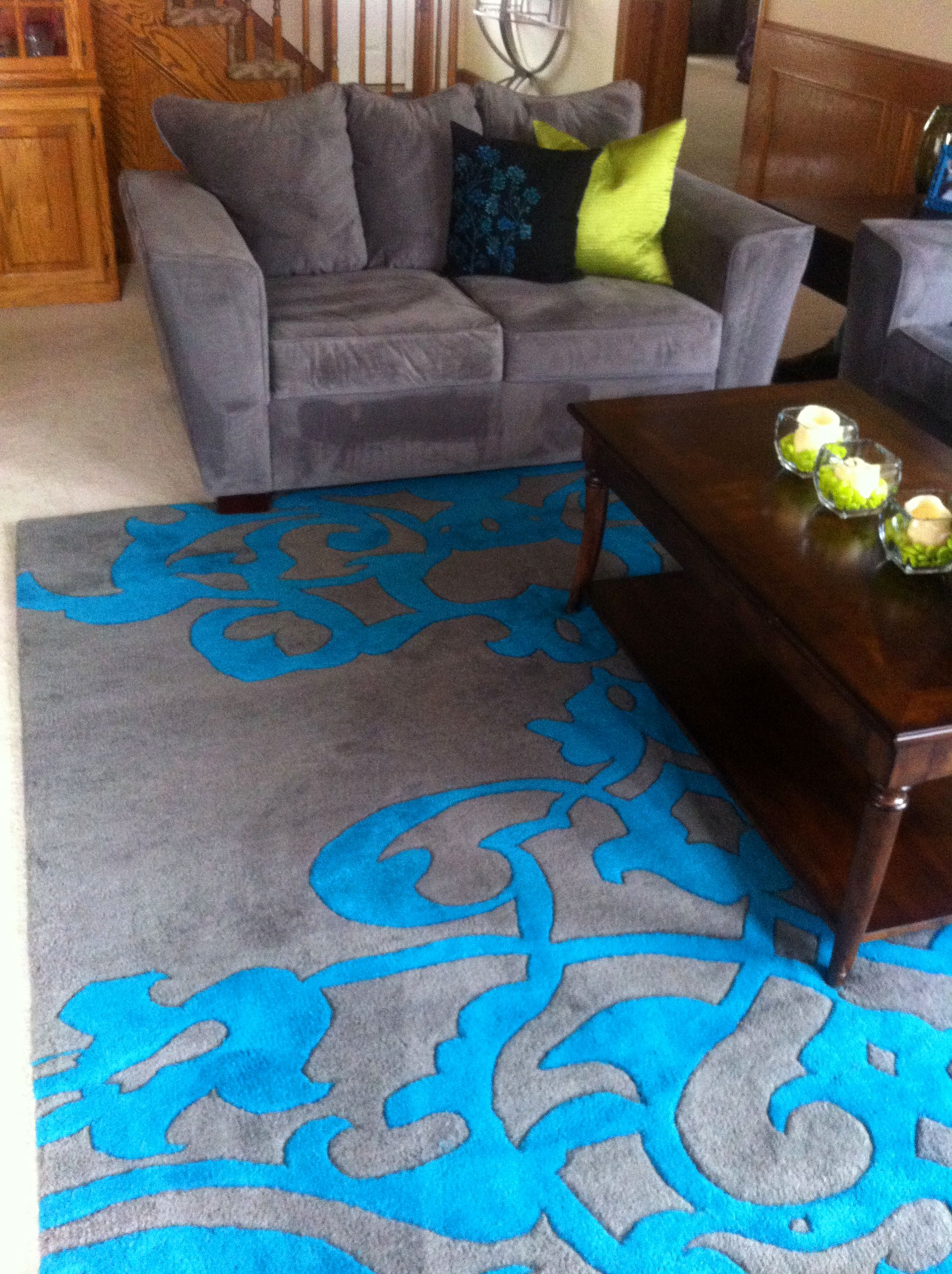 Teal and gray living room rug for the home rugs in - Grey living room rug ...