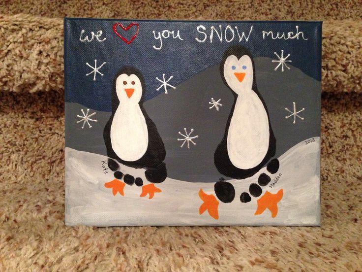 Penguin footprint canvas we love you snow much | Basteln weihnachten, Weihnachtsgeschenke basteln