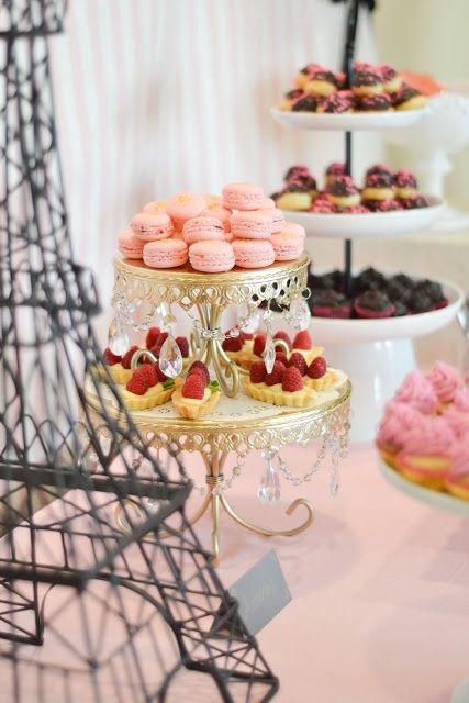 Paris Inspired Dessert Table Display With Pink Macarons