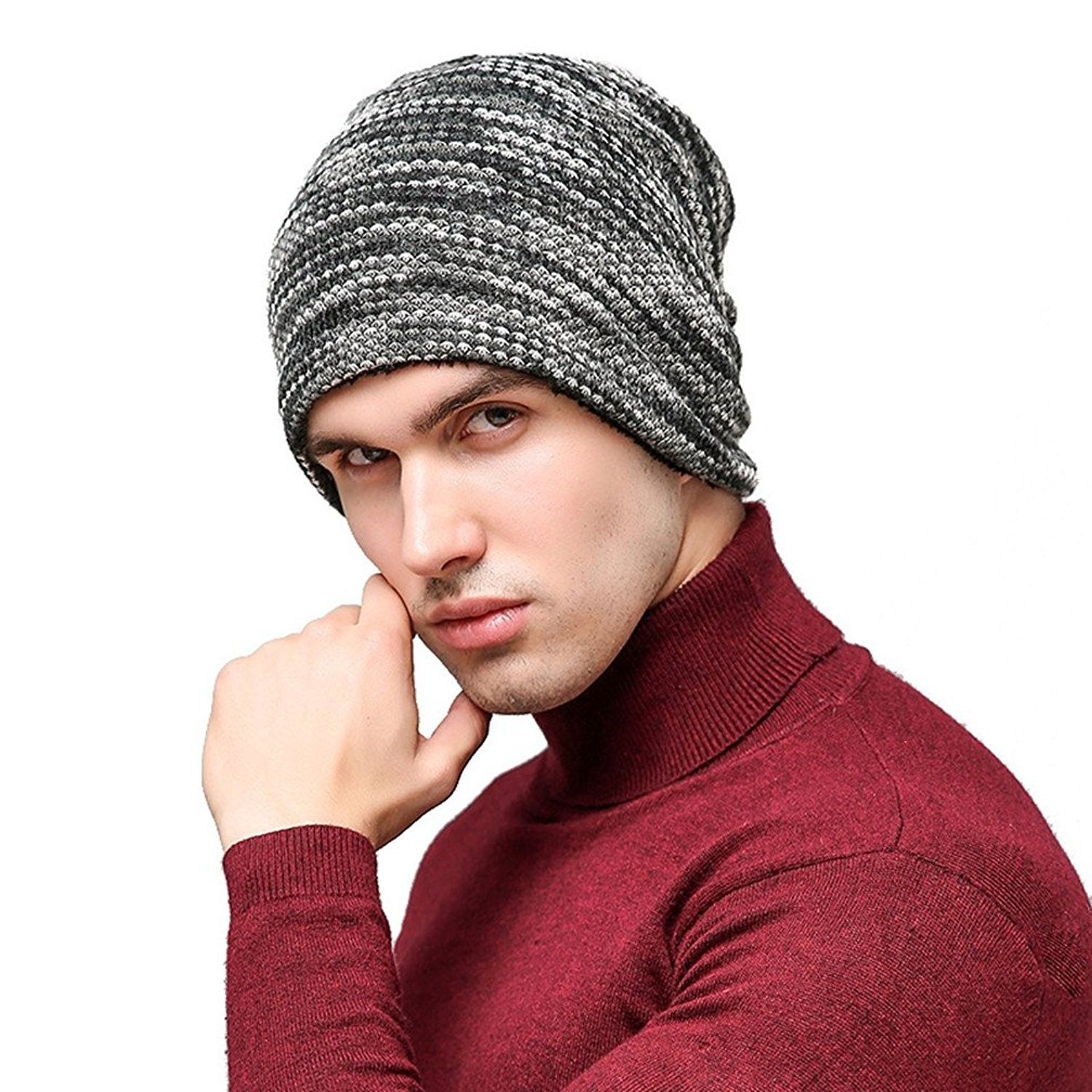 bca3f82301172 Mens and Womens Thicken and Fleece Lining Knit Beanie Hat Winter Hat  Slouchy Warm Cap - Gray - C3186RMHAD7 - Hats   Caps