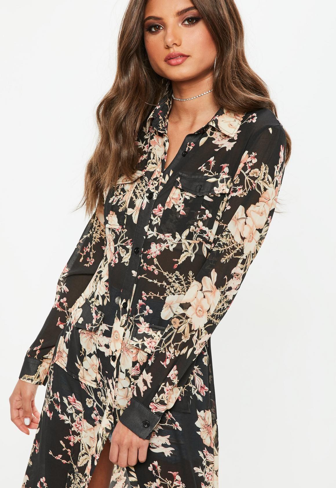Vestido camisero largo negro flores