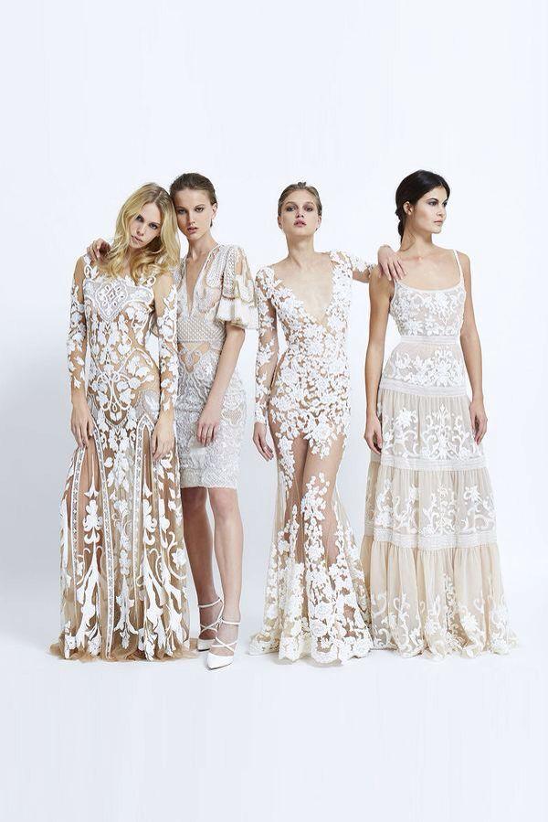 Tendencia de vestidos en tono aperlado con distintos cortes y texturas ¿Cual elegirías tu? #LunesdeModaNupcial