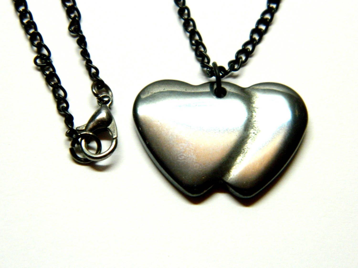 Double Black Heart Hematite Pendant With Black Chain Birthday Gift